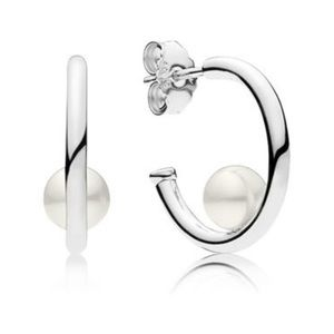 New pandora pearl hoop earrings